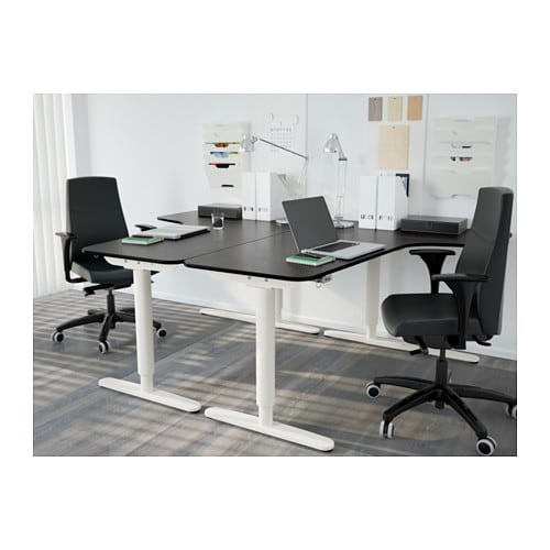 bekant corner desk right sit stand black brown white 160x110 cm ikea