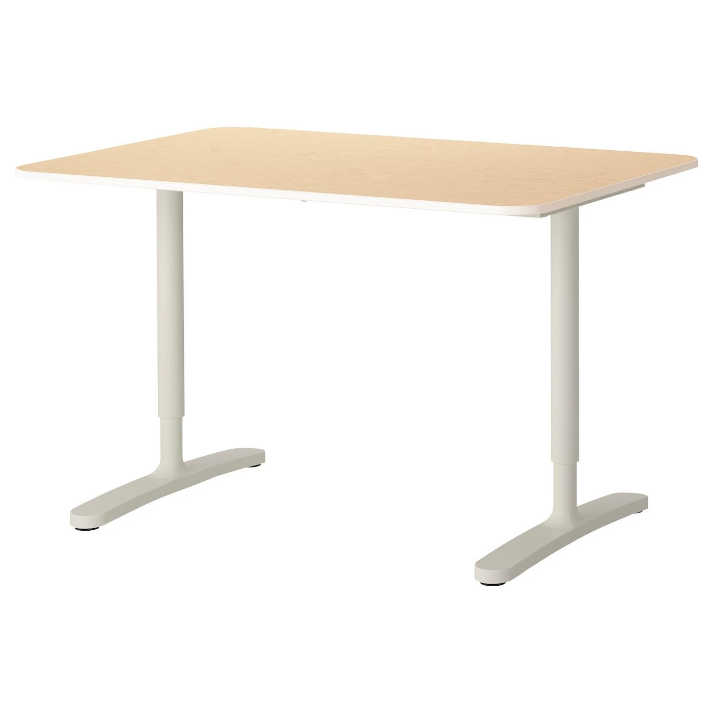 BEKANT Desk Birch veneerwhite 120x80 cm IKEA