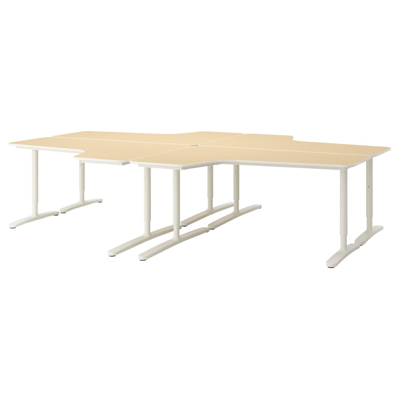 Bekant Desk Combination Birch Veneer White 320x220 Cm Ikea
