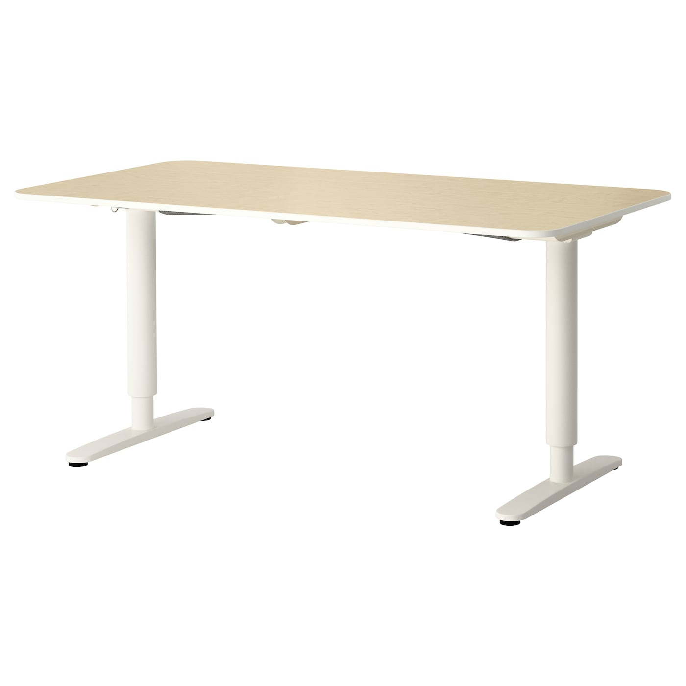 Bekant Desk Sit Stand Birch Veneer White 160x80 Cm Ikea