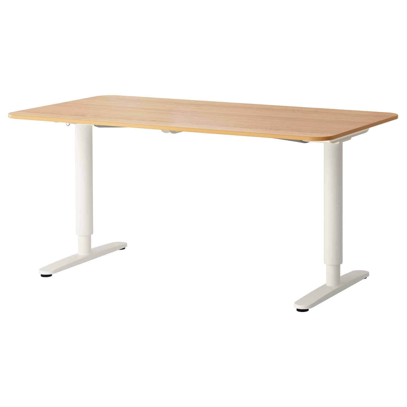 Bekant desk sit stand oak veneer white 160x80 cm ikea for Bureau qui monte