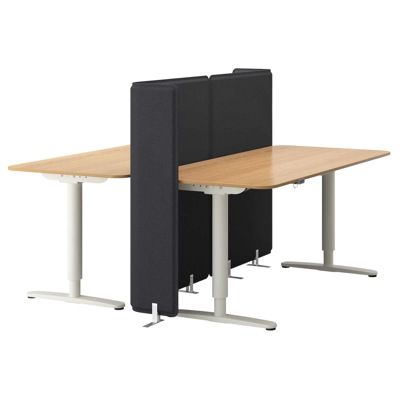 Bekant Desk Sit Stand With Screen Oak Veneer White 160 X