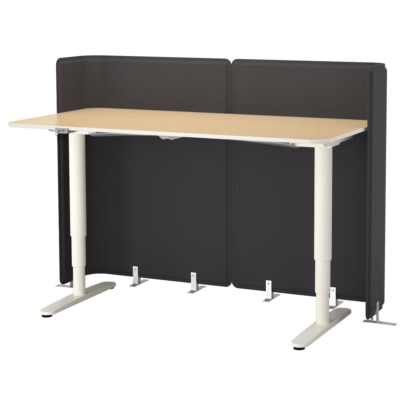 Bekant Reception Desk Sit Stand Birch Veneer White 160x80