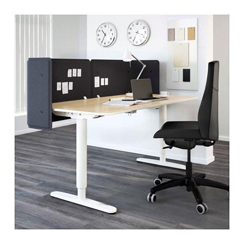 BEKANT Reception desk sitstand Birch veneerwhite 160x80