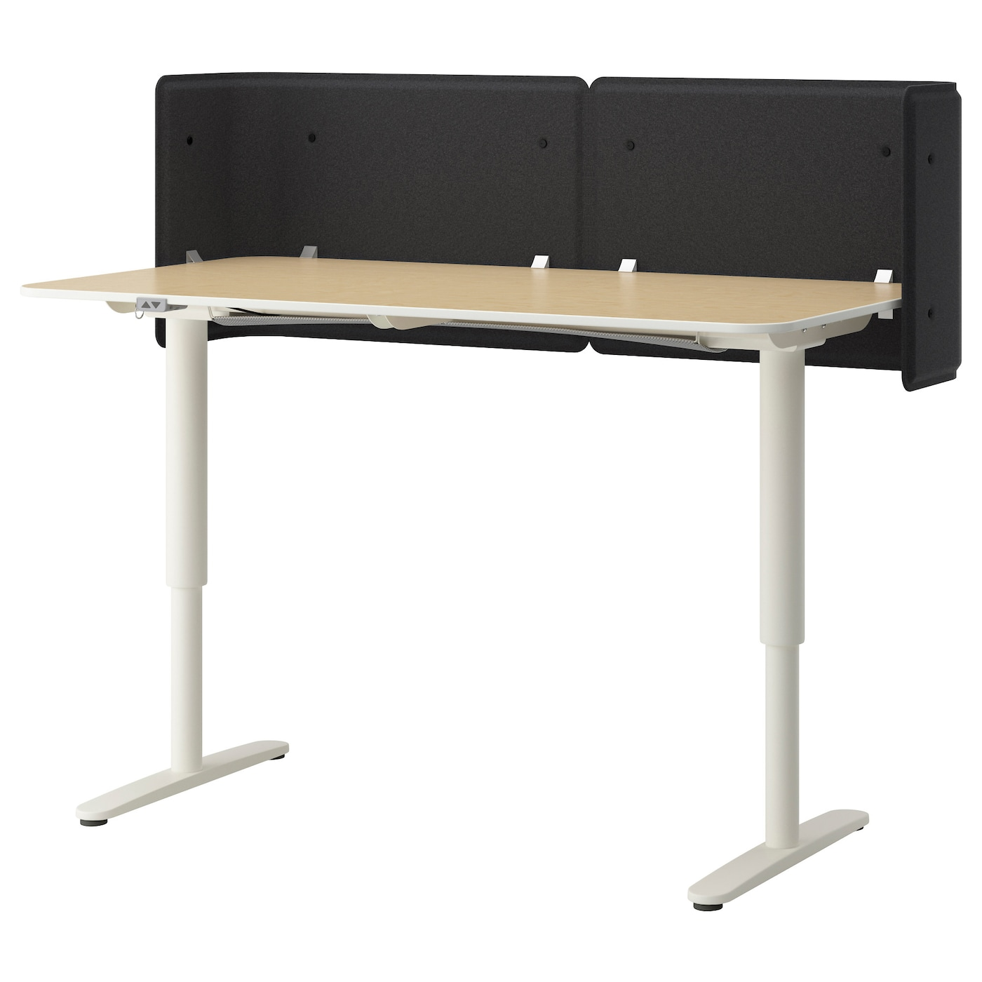 Bekant Reception Desk Sit Stand Birch Veneer White 160x80