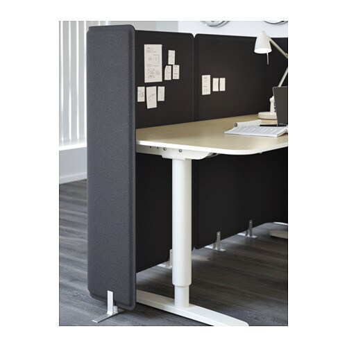 IKEA BEKANT screen for desk Holds pins; also serves as notice board.