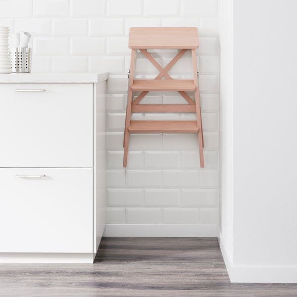 BEKVÄM Stepladder, 3 steps, beech, 63 cm