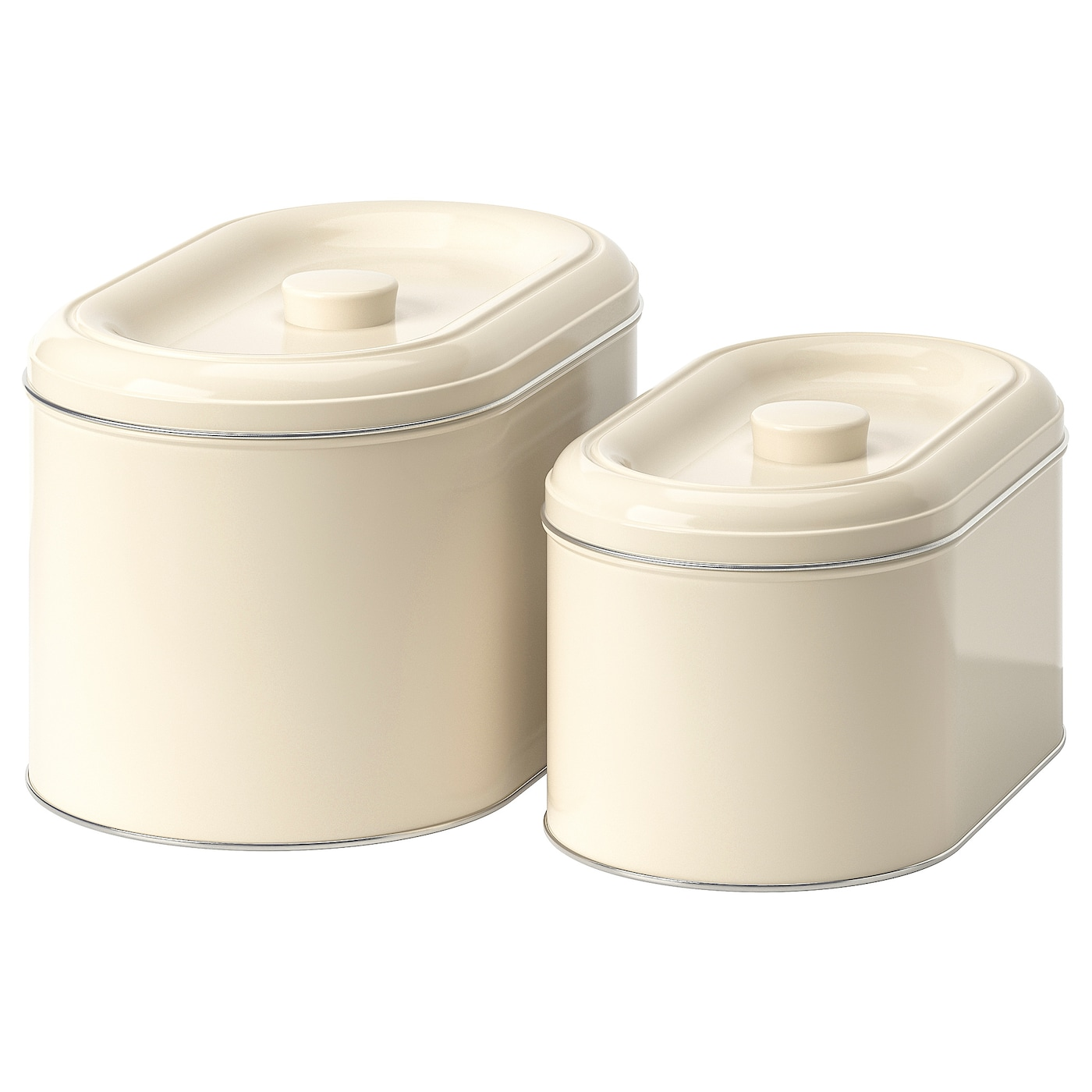 IKEA BERÖMLIG tin with lid set of 2 Suitable for cakes, biscuits and other dry foodstuffs.