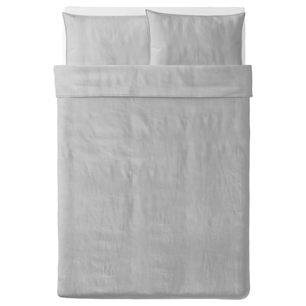 BERGPALM Quilt cover and 2 pillowcases, grey/stripe, 200x200/50x80 cm