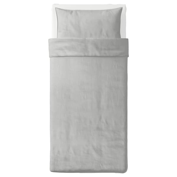 BERGPALM Quilt cover and pillowcase, grey/stripe, 150x200/50x80 cm