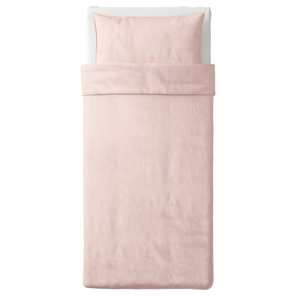 BERGPALM Quilt cover and pillowcase, pink/stripe, 150x200/50x80 cm
