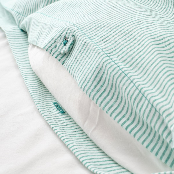 BERGPALM Quilt cover and pillowcase, white/green/stripe, 150x200/50x80 cm