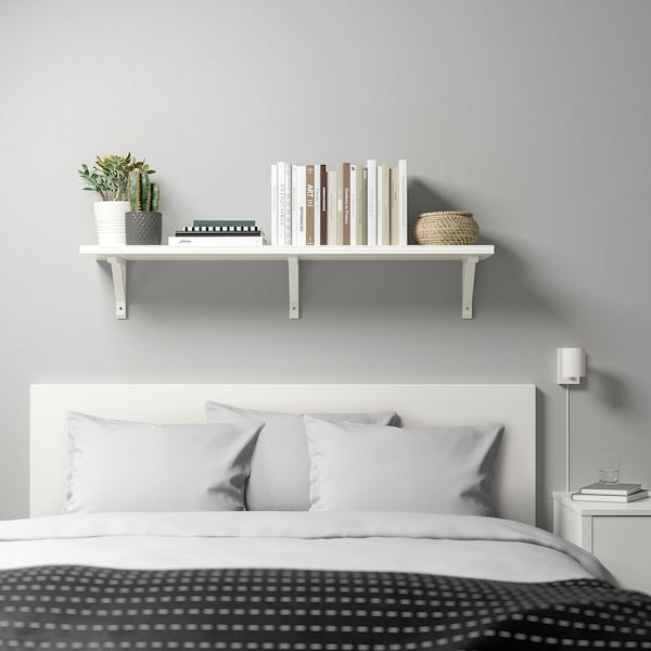 BERGSHULT / SANDSHULT Wall shelf, white/white stained aspen, 120x30 cm