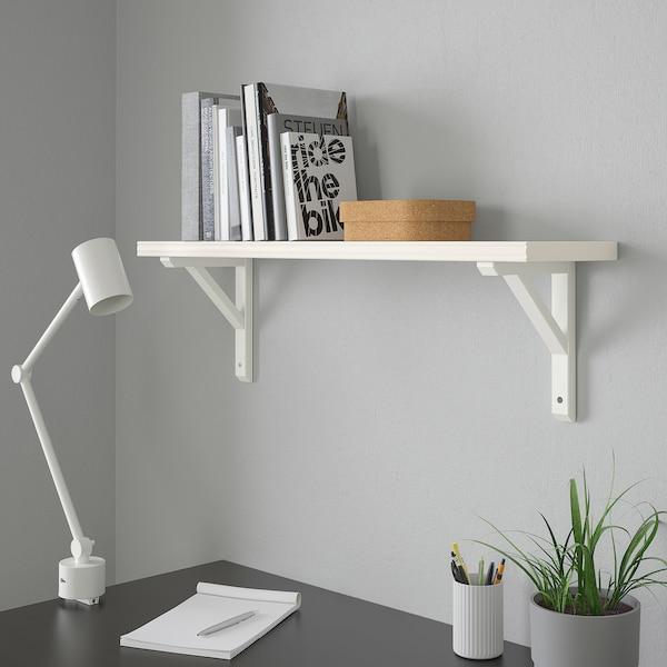 BERGSHULT / SANDSHULT Wall shelf, white/white stained aspen, 80x20 cm