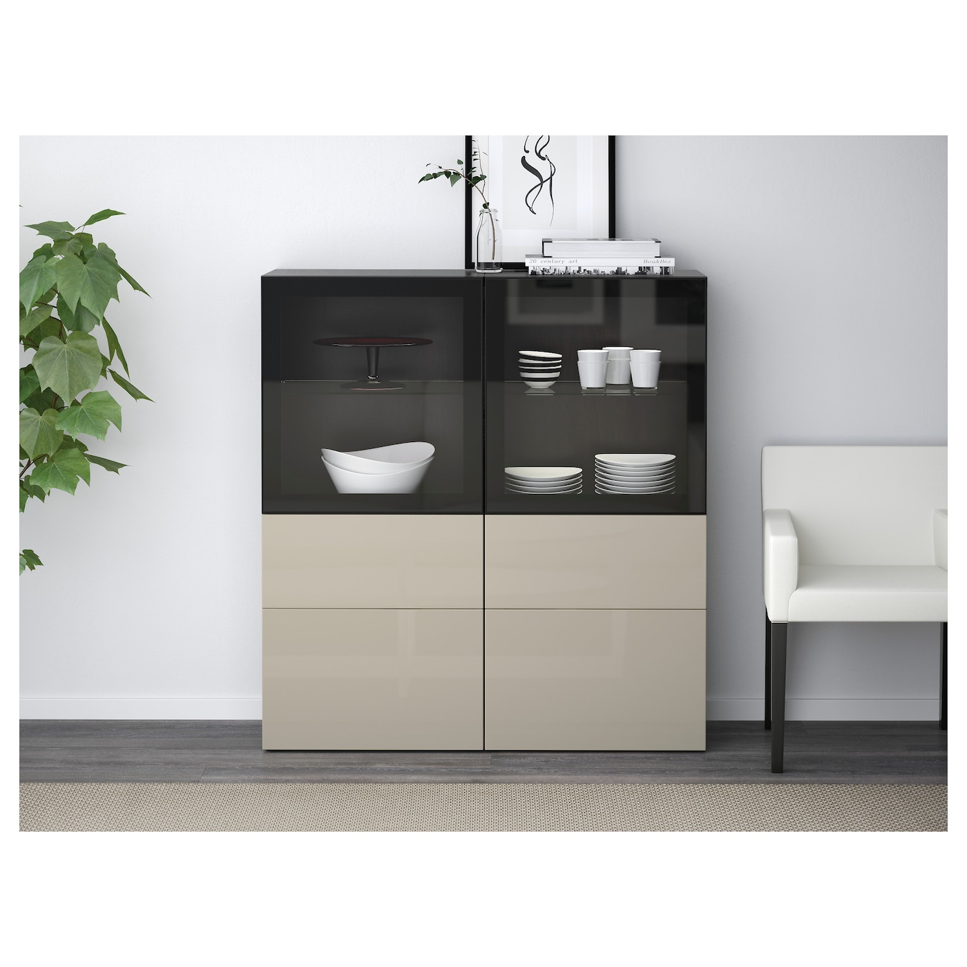 best storage combination w glass doors black brown selsviken high gloss beige clear glass 120 x. Black Bedroom Furniture Sets. Home Design Ideas