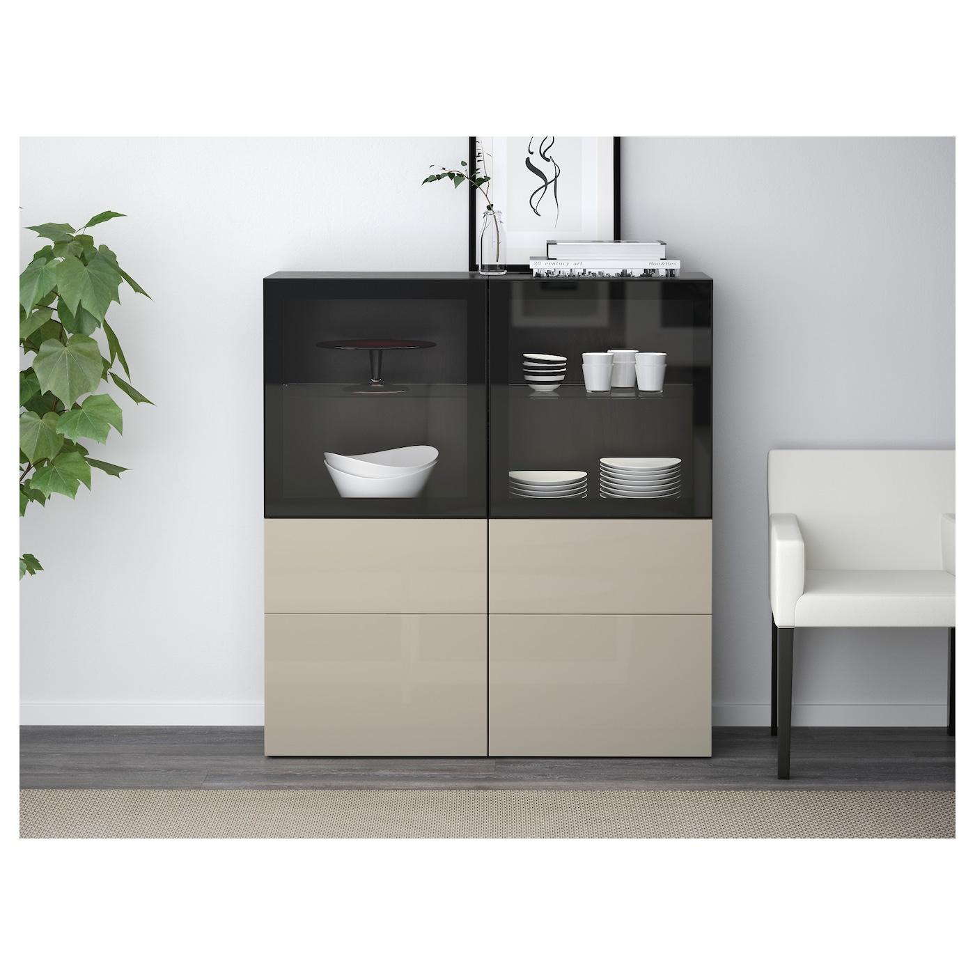 best storage combination w glass doors black brown. Black Bedroom Furniture Sets. Home Design Ideas