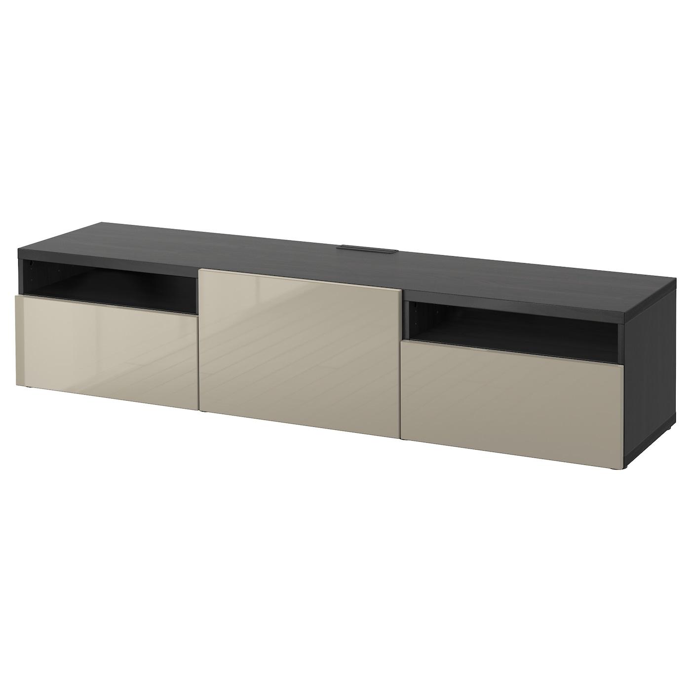 best tv bench black brown selsviken high gloss beige 180x40x38 cm ikea. Black Bedroom Furniture Sets. Home Design Ideas