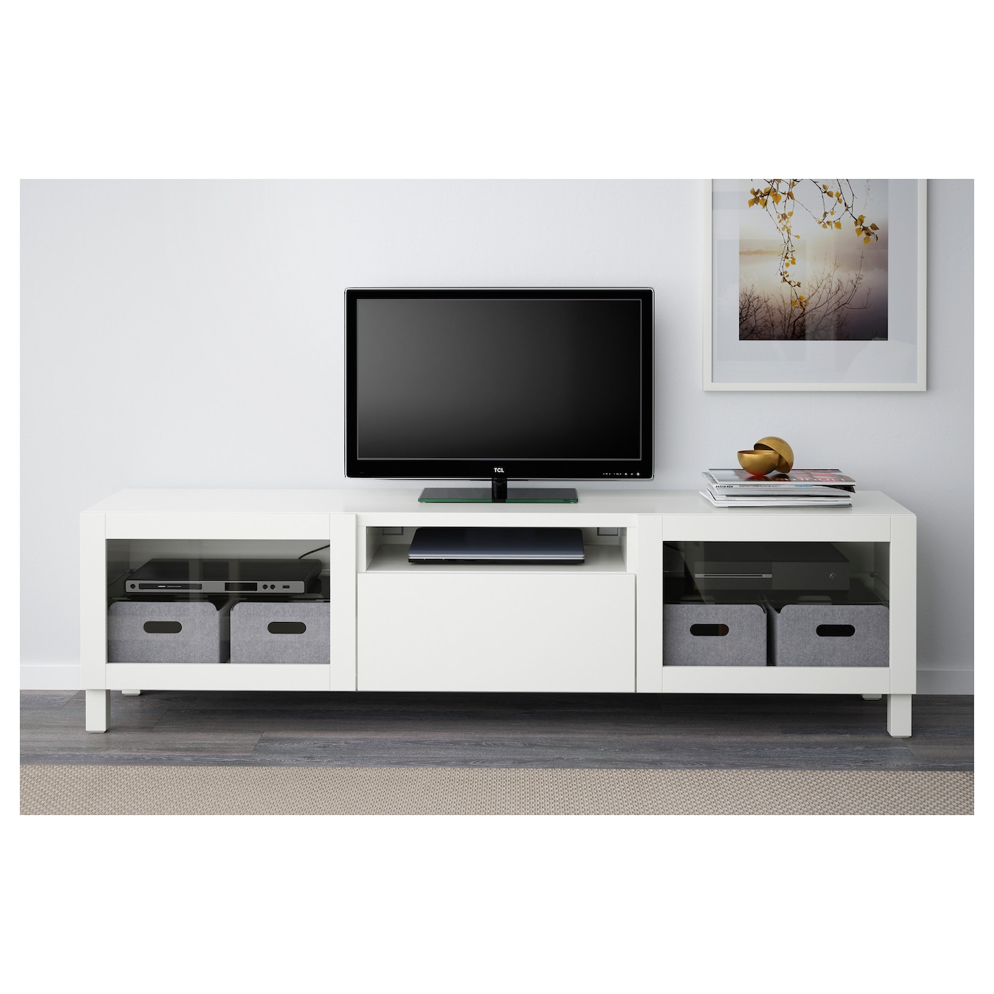 Best Tv Bench Lappviken Sindvik White Clear Glass 180x40x48 Cm Ikea # Meuble Tv Transparent