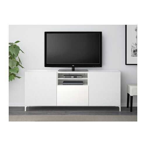 BESTÅ TV bench Laxviken white/selsviken highgloss/white 180x40x74 cm