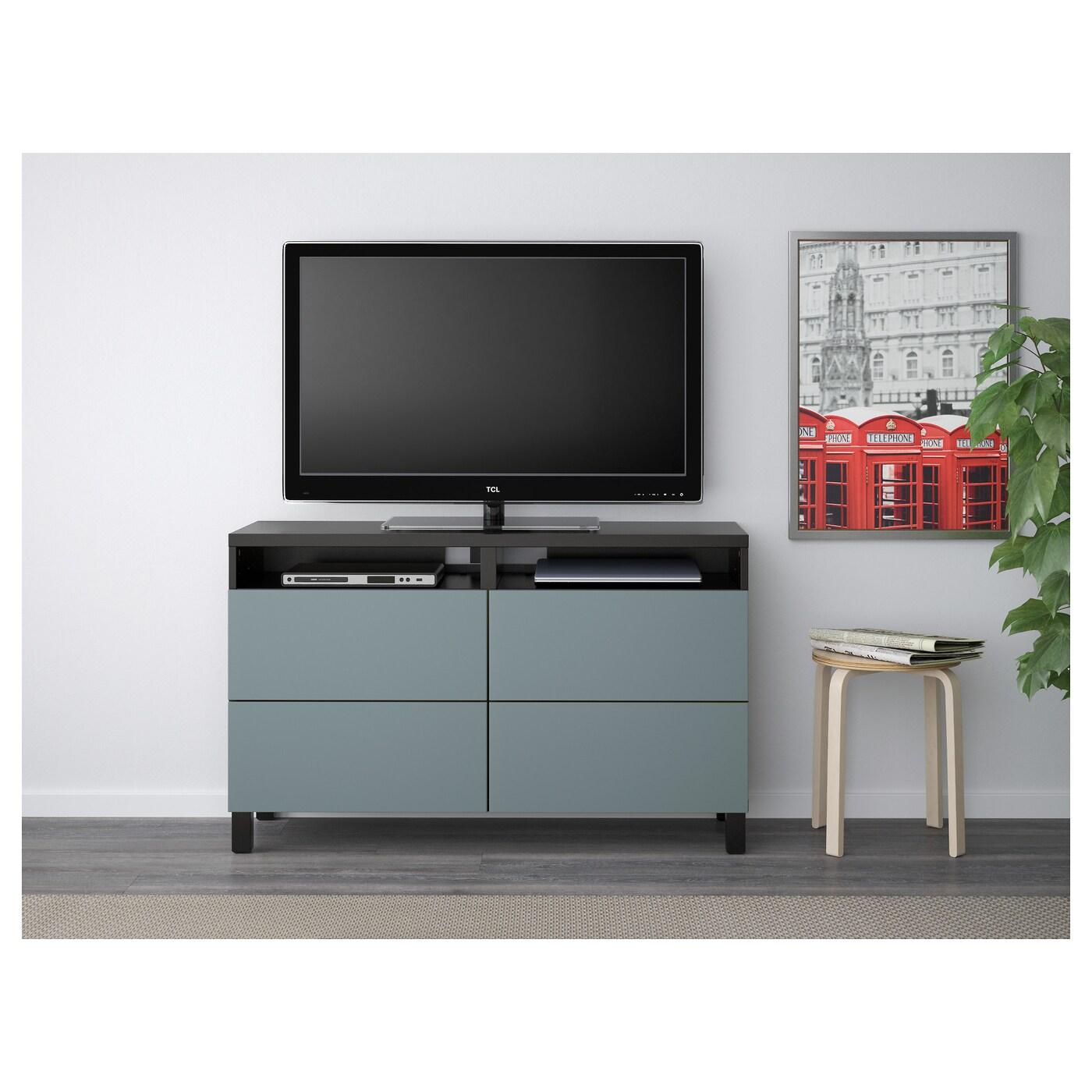 Best Tv Bench With Drawers Black Brown Valviken Grey Turquoise 120x40x74 Cm Ikea