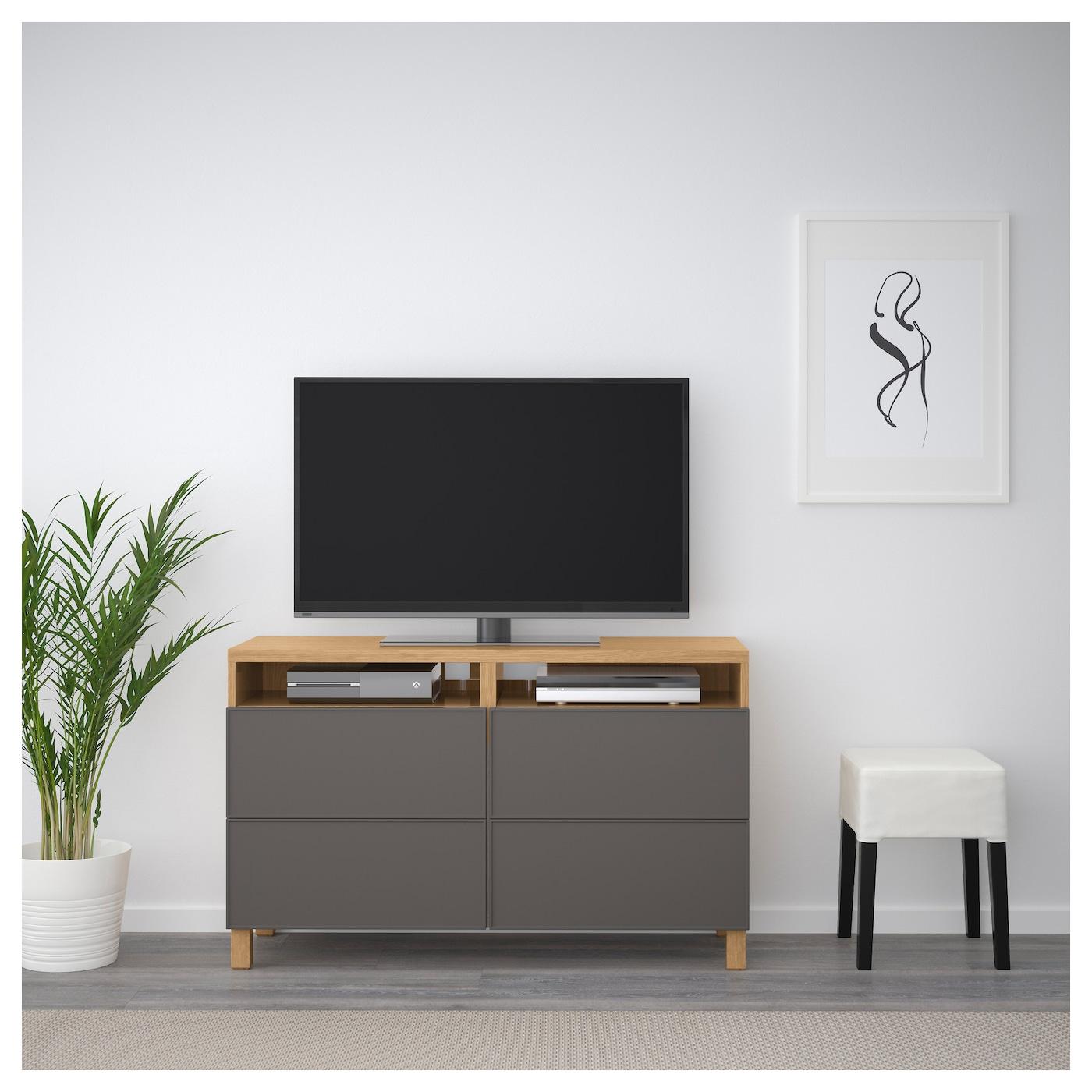 Best Tv Bench With Drawers Oak Effect Grundsviken Dark Grey 120x40x74 Cm Ikea