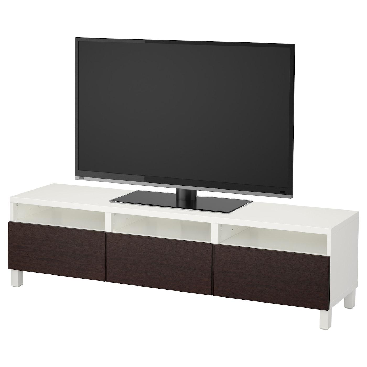 Best Tv Bench With Drawers White Inviken Black Brown 180x40x48 Cm Ikea