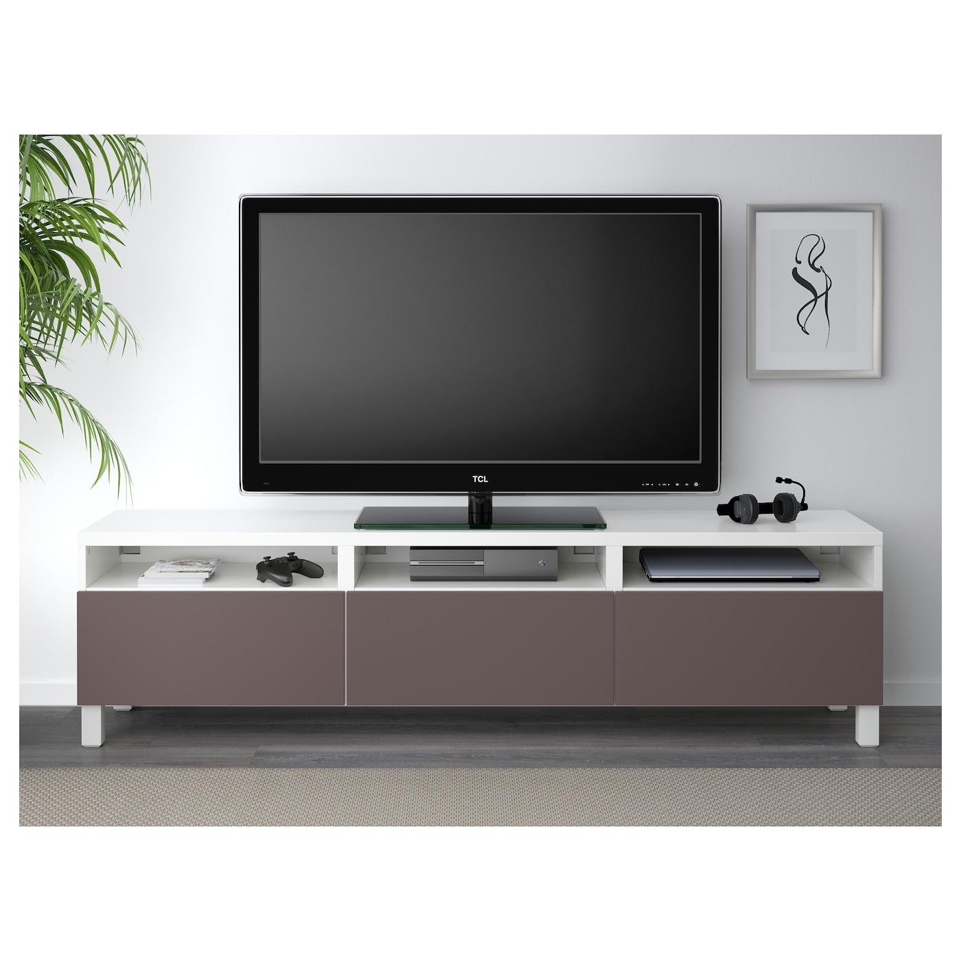 Best 197 Tv Bench With Drawers White Valviken Dark Brown 180