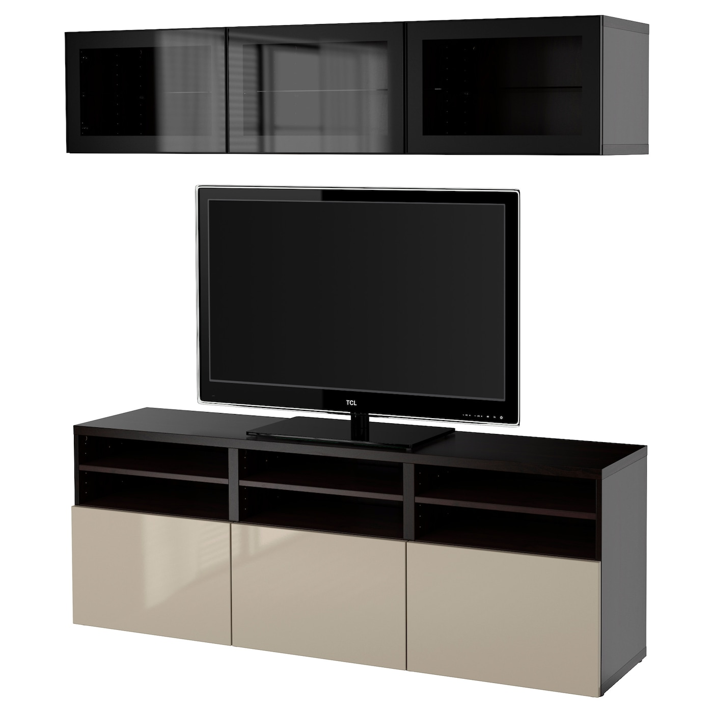 Best Tv Storage Combination Glass Doors Black Brown Selsviken  # Meuble Tv Living
