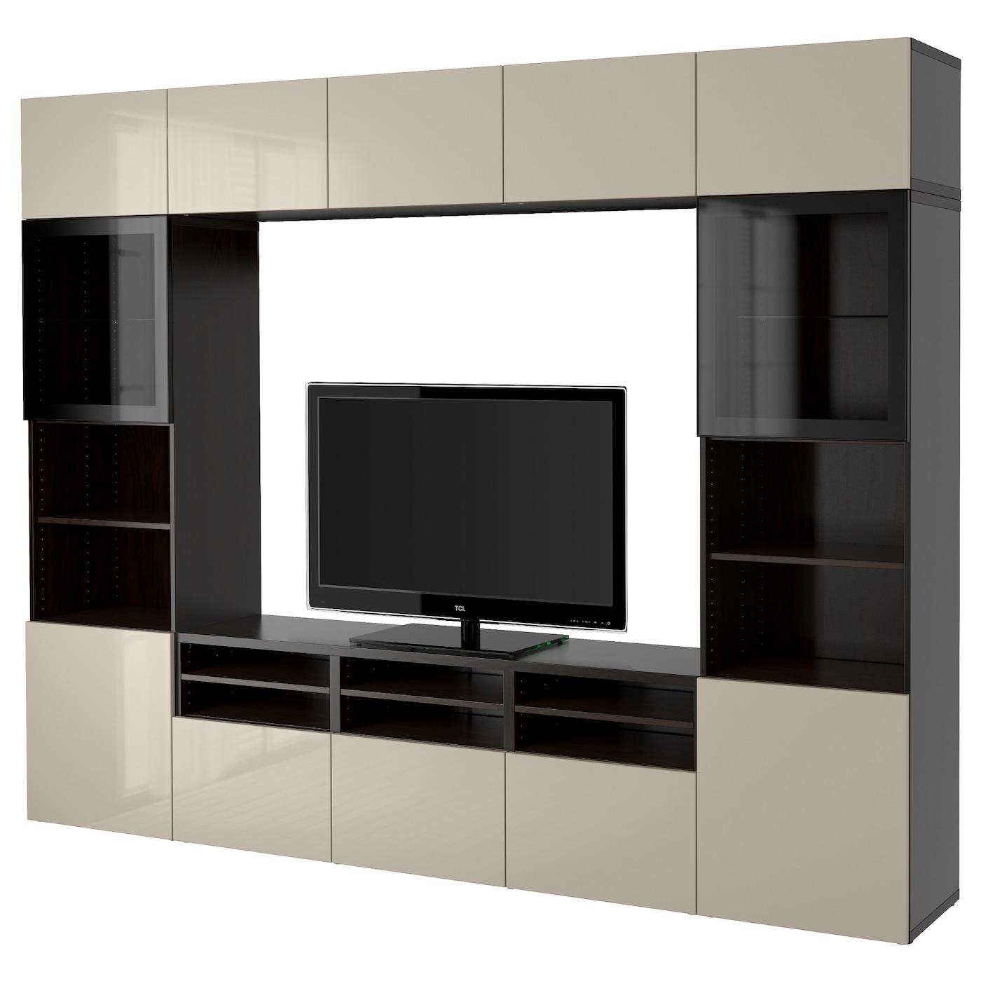 Best Tv Storage Combination Glass Doors Black Brown Selsviken  # Ikea Meubles Tele Besta