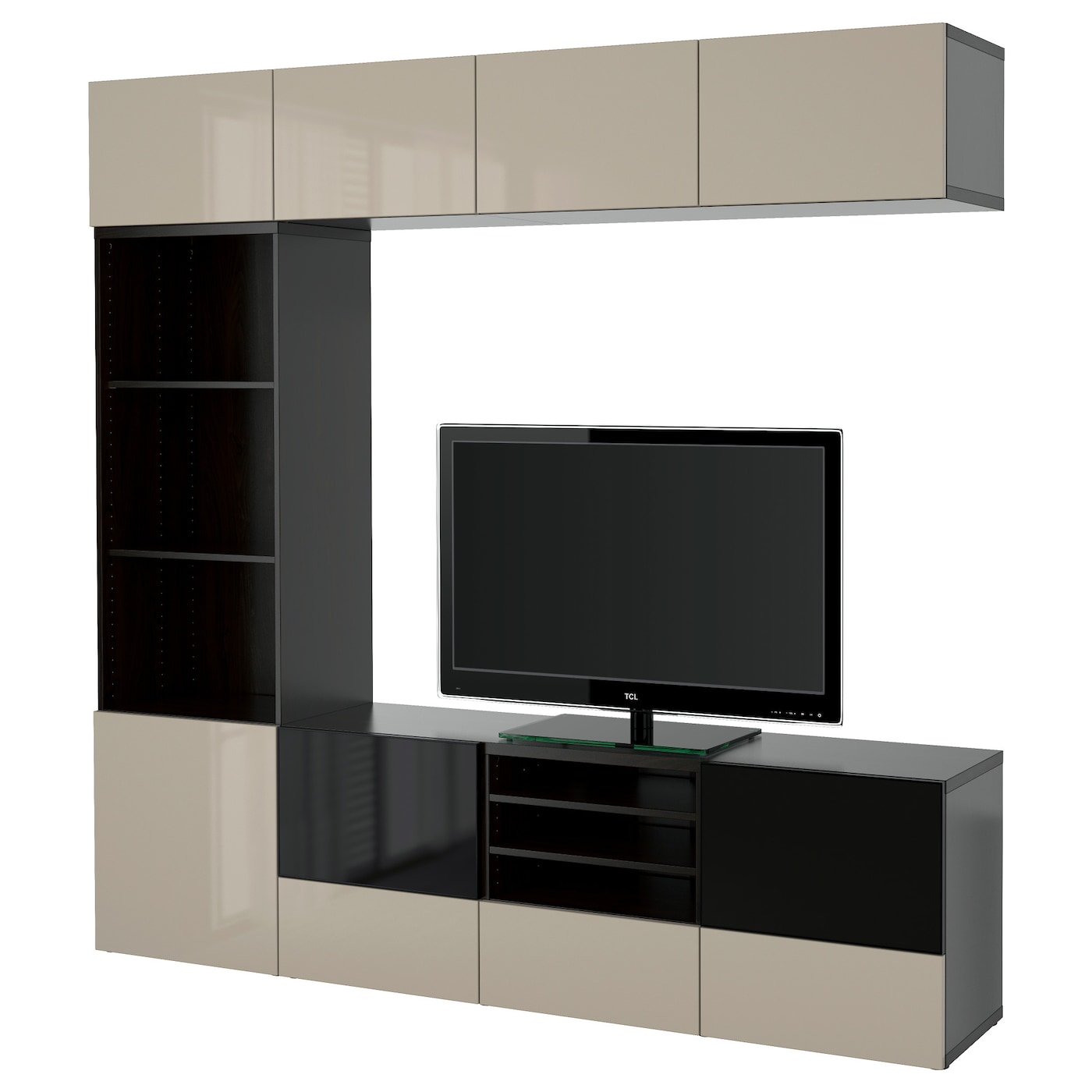Best Tv Storage Combination Glass Doors Black Brown Selsviken  # Ikea Meuble Tv Besta