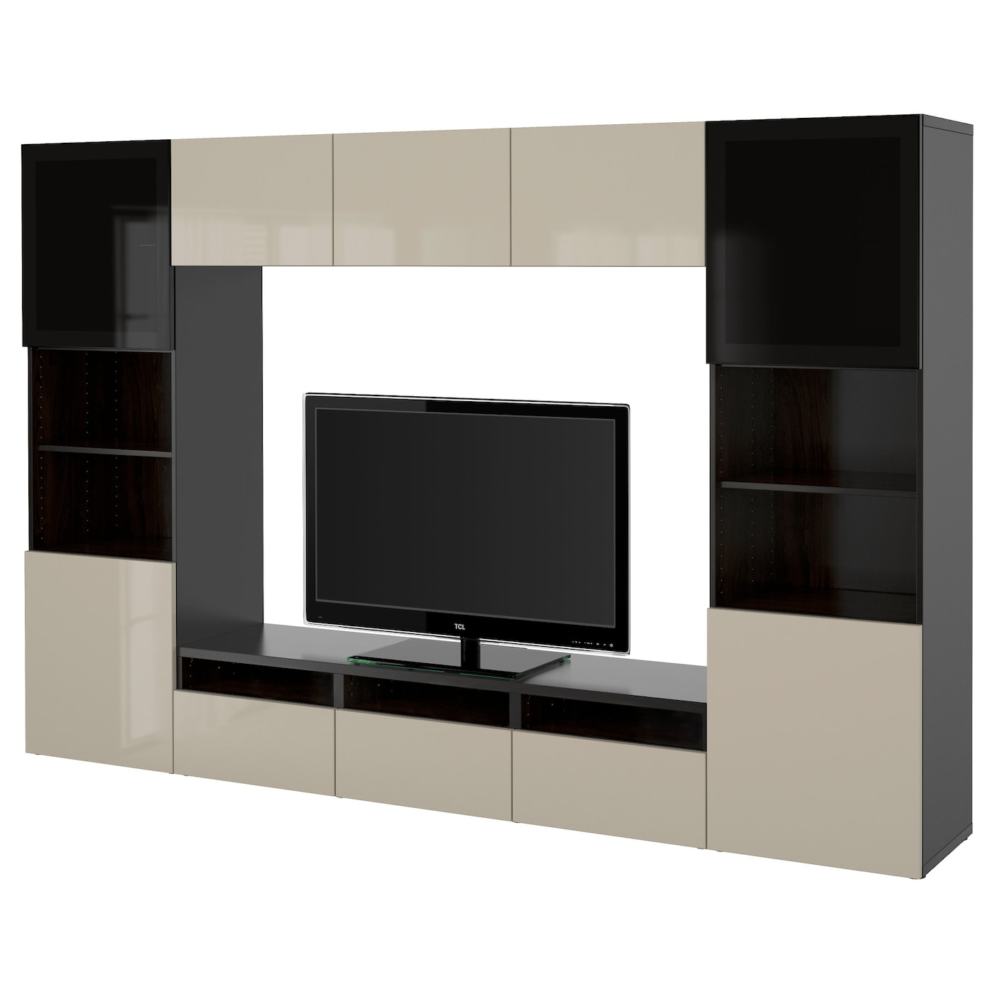 best tv storage combination glass doors black brown selsviken high gloss beige smoked glass. Black Bedroom Furniture Sets. Home Design Ideas