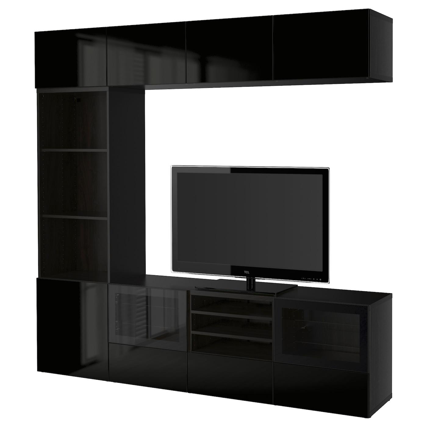 Best tv storage combination glass doors black brown for Ikea mueble para tv