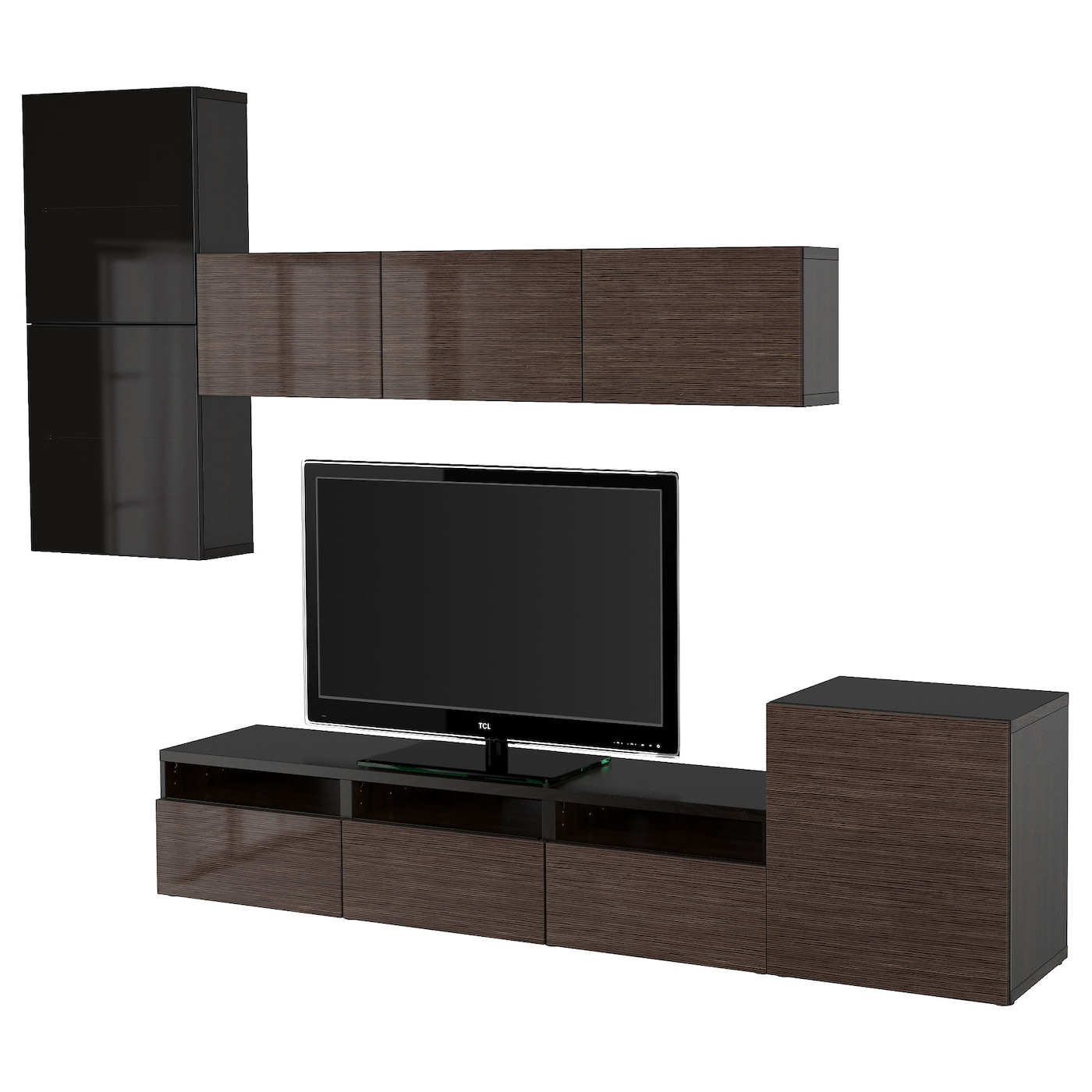 BEST… TV storage bination glass doors Black brown selsviken high