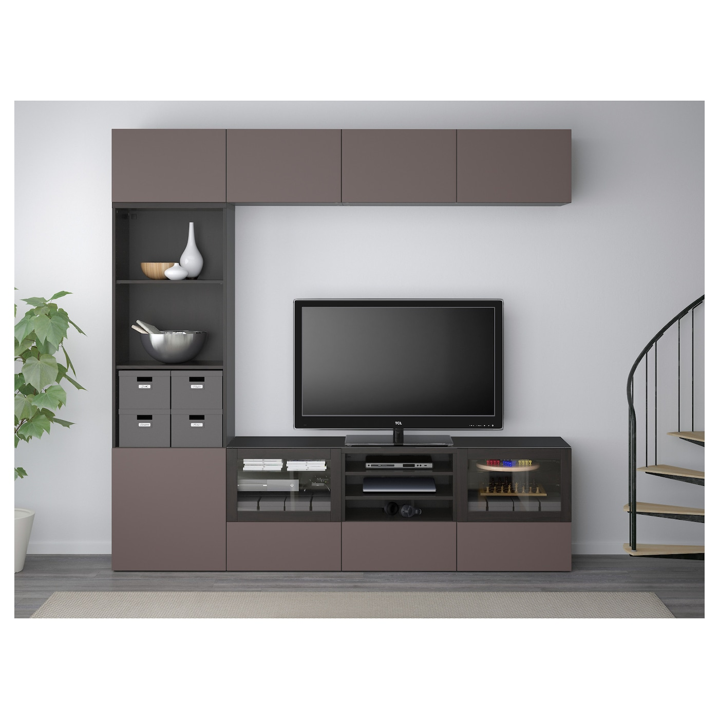 Best Tv Storage Combination Glass Doors Black Brown Valviken Dark  # Besta Meuble Tv
