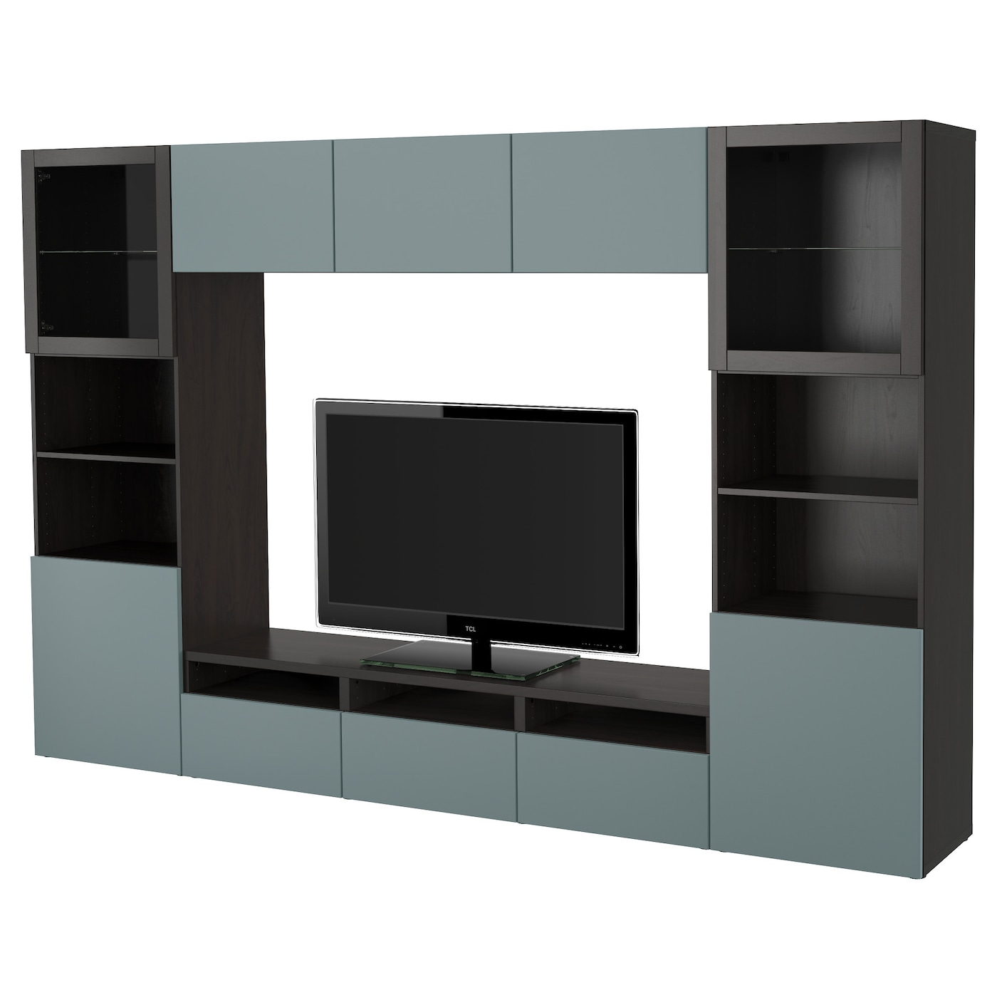 best tv storage combination glass doors black brown valviken grey turquoise clear glass. Black Bedroom Furniture Sets. Home Design Ideas