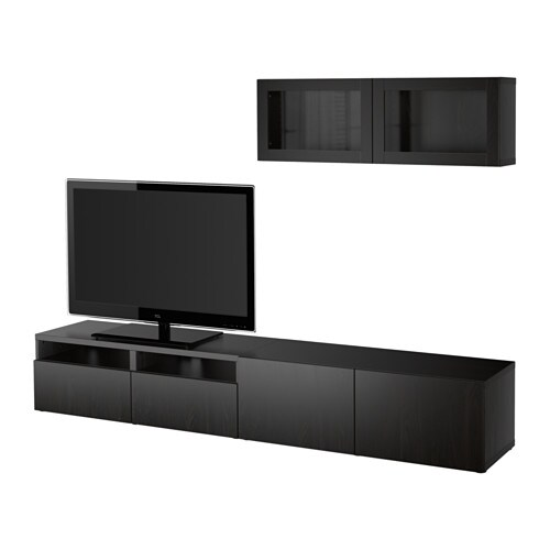 best¥ tv storage bination glass doors lappviken sindvik black brown clear glass pe s4