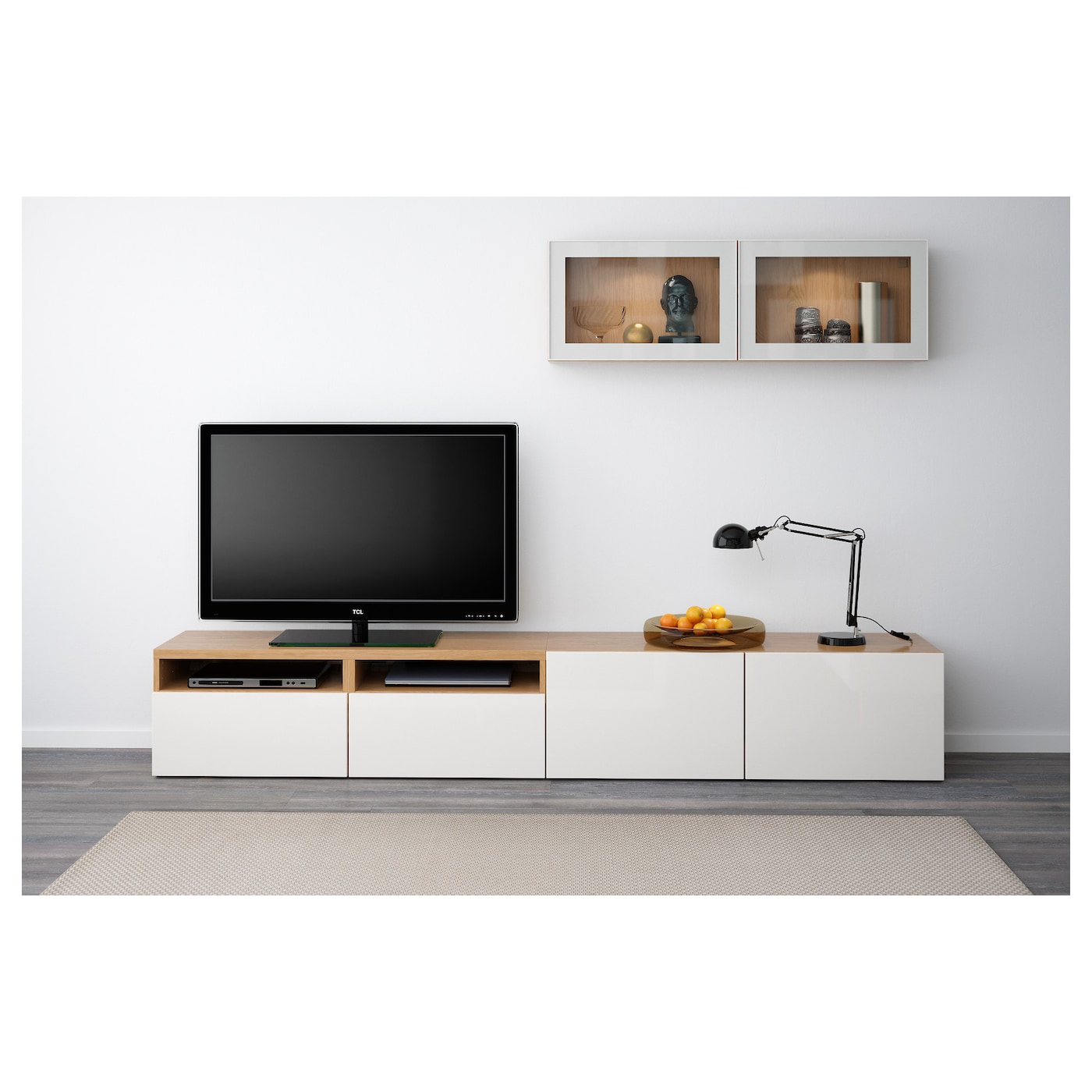 best tv storage combination glass doors oak effect selsviken high gloss white clear glass 240 x. Black Bedroom Furniture Sets. Home Design Ideas