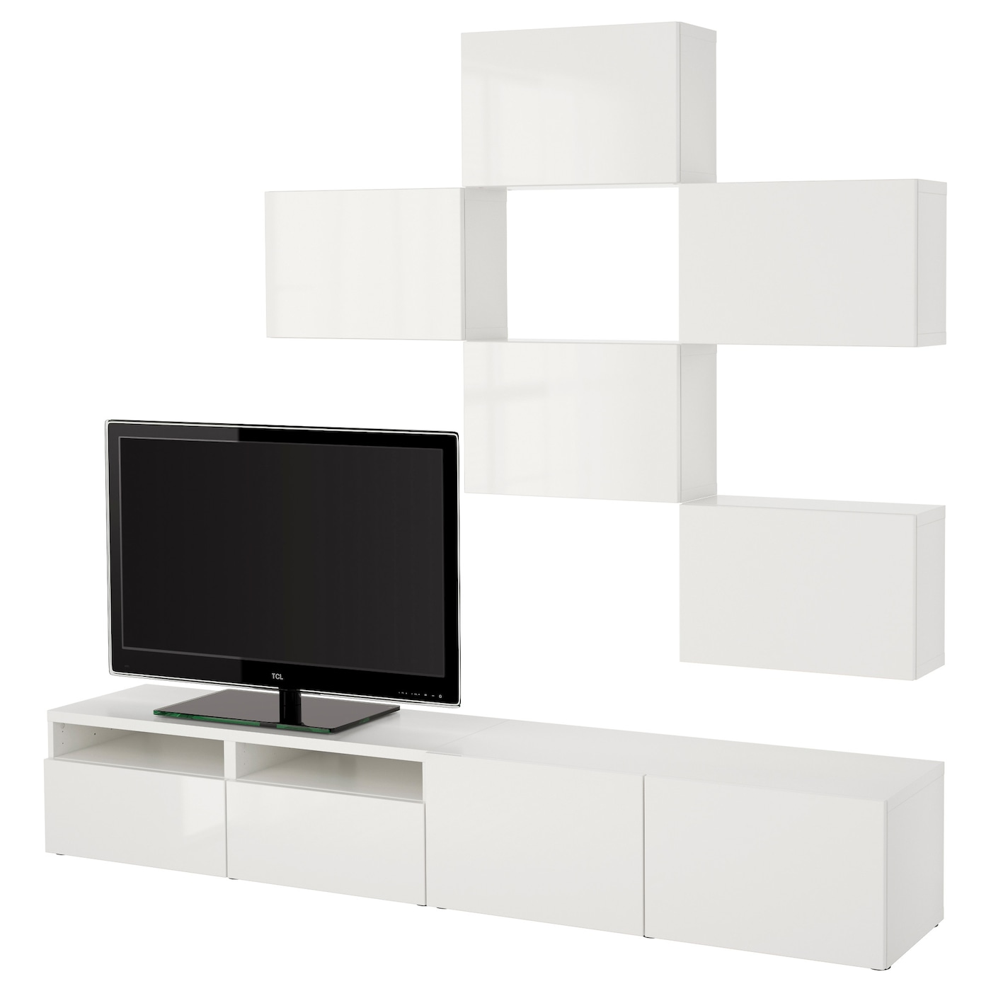 best tv storage combination white selsviken high gloss white 240x20 40x204 cm ikea. Black Bedroom Furniture Sets. Home Design Ideas