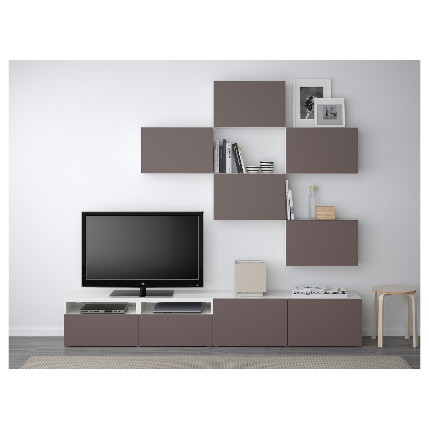 Best Tv Storage Combination White Valviken Dark Brown 240×20  # Meuble Tv Ikea Gris