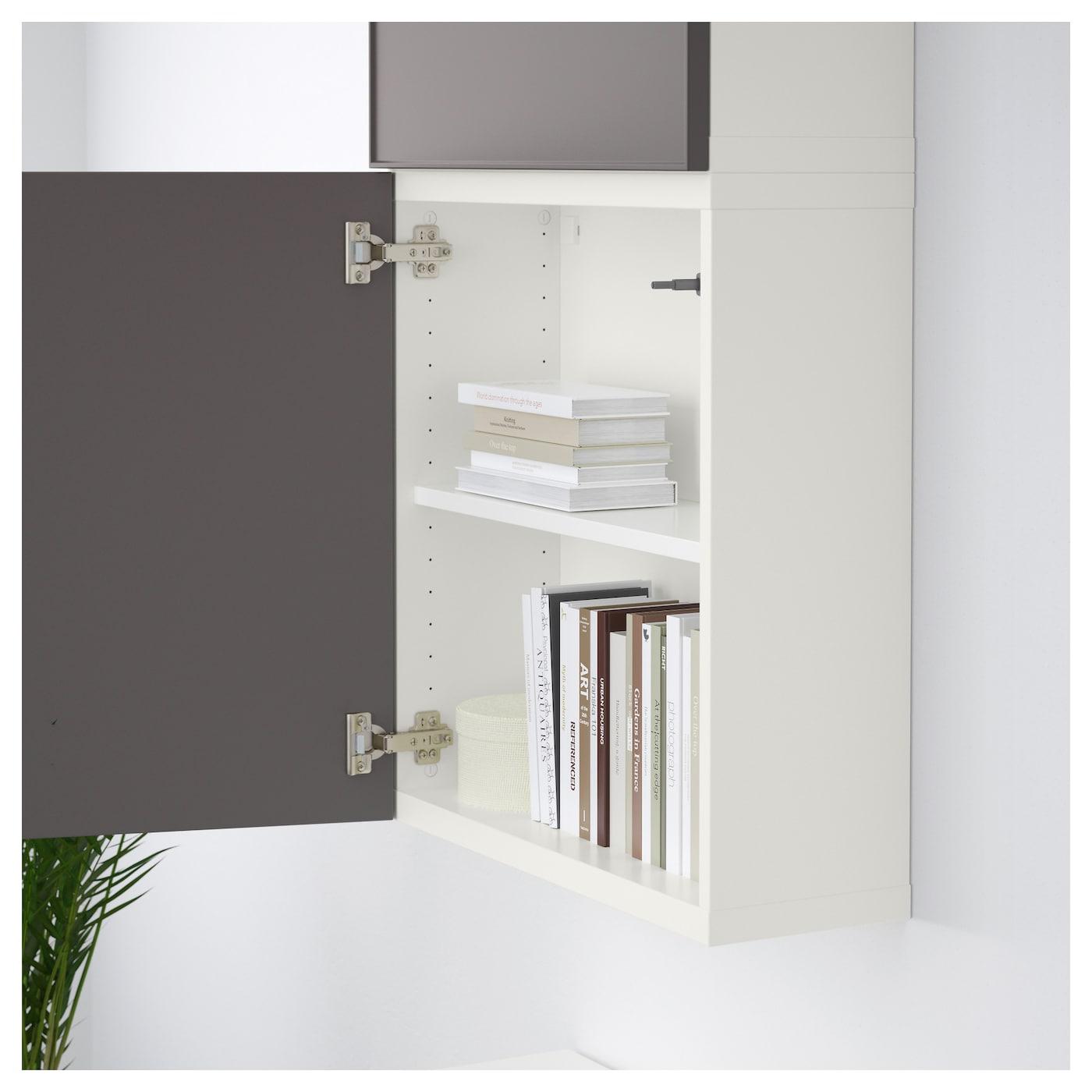 Best wall cabinet with 2 doors white grundsviken dark for White cabinets with black doors