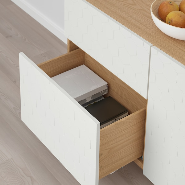 BESTÅ storage combination w doors/drawers oak effect/Vassviken/Stubbarp white 120 cm 40 cm 74 cm