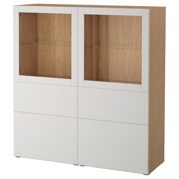 BESTÅ Storage combination w glass doors, oak effect/Lappviken light grey clear glass, 120x40x128 cm