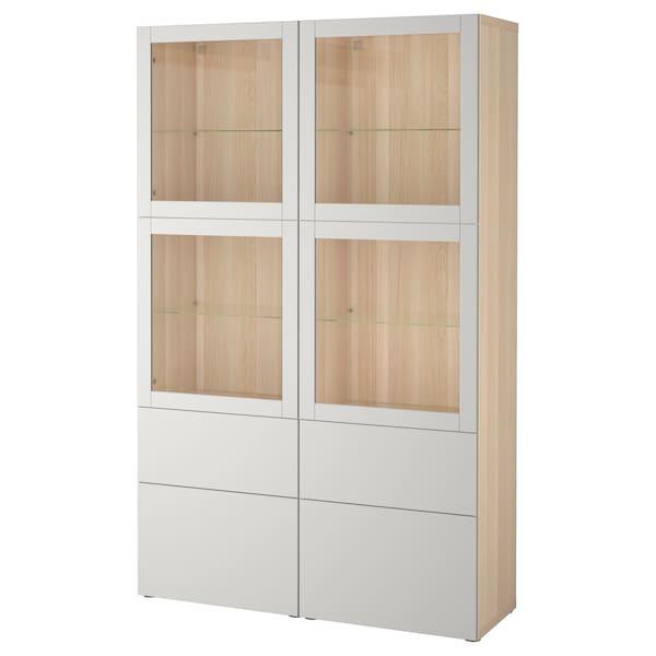 BESTÅ Storage combination w glass doors, white stained oak effect Sindvik/Lappviken light grey clear glass, 120x40x192 cm