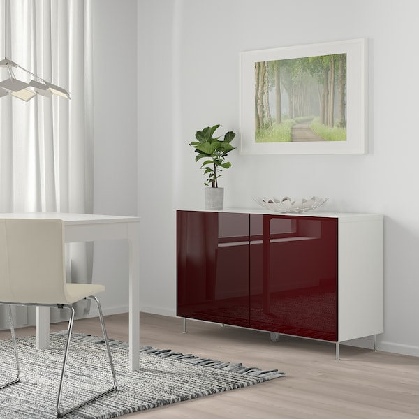BESTÅ Storage combination with doors, white Selsviken/Stallarp/high-gloss dark red-brown, 120x42x74 cm