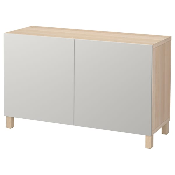 BESTÅ Storage combination with doors, white stained oak effect/Lappviken light grey, 120x40x74 cm