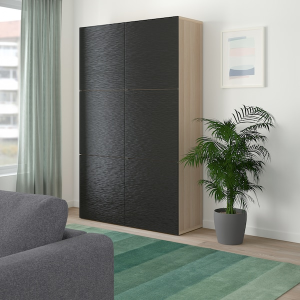 BESTÅ Storage combination with doors, white stained oak effect/Laxviken black, 120x40x192 cm