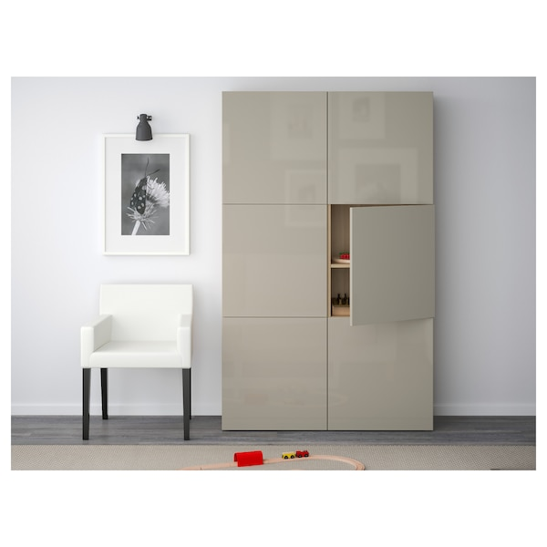 BESTÅ Storage combination with doors, white stained oak effect/Selsviken high-gloss/beige, 120x40x192 cm