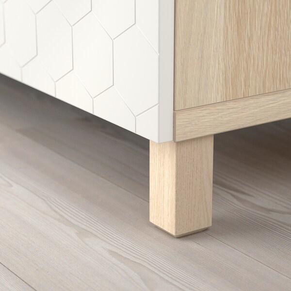 BESTÅ Storage combination with doors, white stained oak effect/Vassviken/Stubbarp white, 180x40x74 cm
