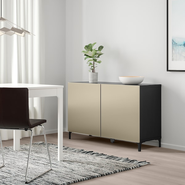 BESTÅ storage combination with doors black-brown/Riksviken/Nannarp light bronze effect 120 cm 42 cm 74 cm