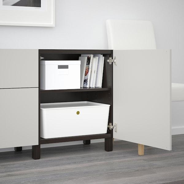 BESTÅ Storage combination with drawers, black-brown/Lappviken light grey, 180x42x65 cm